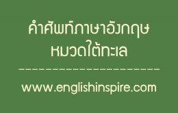 คำศัพท์ใต้ท้องทะเลภาษาอังกฤษ สัตว์น้ำทะเลภาษาอังกฤษ